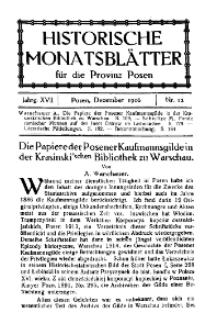 Historische Monatsblätter für die Provinz Posen, Jg. 17, 1916, Nr 12.