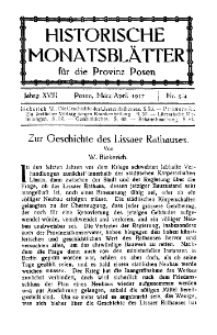 Historische Monatsblätter für die Provinz Posen, Jg. 18, 1917, Nr 3/4.