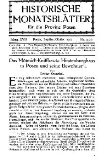 Historische Monatsblätter für die Provinz Posen, Jg. 18, 1917, Nr 9/10.