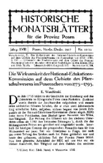Historische Monatsblätter für die Provinz Posen, Jg. 18, 1917, Nr 11/12.