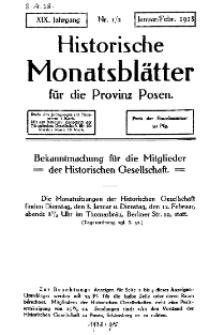 Historische Monatsblätter für die Provinz Posen, Jg. 19, 1918, Nr 1/2.
