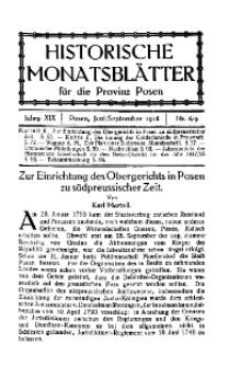 Historische Monatsblätter für die Provinz Posen, Jg. 19, 1918, Nr 6/9.