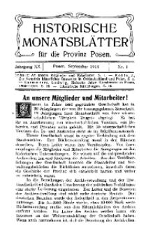 Historische Monatsblätter für die Provinz Posen, Jg. 20, 1919, Nr 1.
