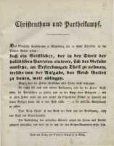 Christenthum und Partheikampf