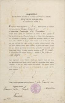 Augustinus Miseratione Divina Et S. Sedis Apostolicae Gratia Episcopus Warmiensis SS. Theologiae Doctor etc. (Anna Seidowski) - pismo