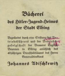 Bücherei des Hitler=Jugend=Heimes der Stadt Elbing - ulotka