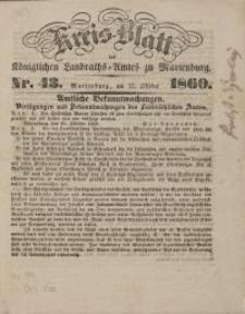 Kreis-Blatt des Königlich Landraths-Amtes zu Marienburg, Nr 43/ 1860