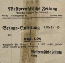 """Bezugs-Quittung """"Westpreussische Zeitung"""" - pokwitowanie (kwiecień 1935)"""