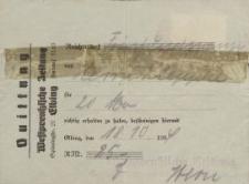 """Quittung """"Westpreussische Zeitung"""" - pokwitowanie (18.10.1939 r.)"""