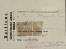 """Quittung """"Westpreussische Zeitung"""" - pokwitowanie (1934)"""