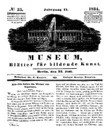 Museum, Blätter für bildende Kunst, Nr. 25, 23 Juni 1834, 2 Jhrg.