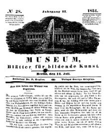Museum, Blätter für bildende Kunst, Nr. 28, 14 Juli 1834, 2 Jhrg.