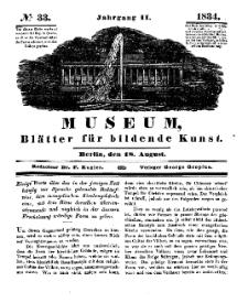 Museum, Blätter für bildende Kunst, Nr. 33, 18 August 1834, 2 Jhrg.