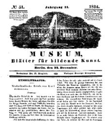 Museum, Blätter für bildende Kunst, Nr. 51, 22 December 1834, 2 Jhrg.