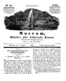 Museum, Blätter für bildende Kunst, Nr. 41, 14 October 1833, 1 Jhrg.