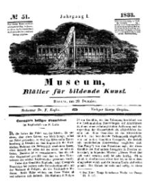 Museum, Blätter für bildende Kunst, Nr. 51, 23 December 1833, 1 Jhrg.