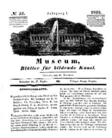 Museum, Blätter für bildende Kunst, Nr. 52, 30 December 1833, 1 Jhrg.