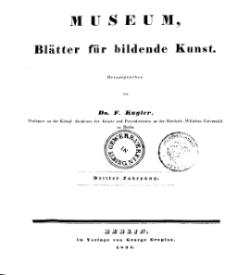 Museum, Blätter für bildende Kunst, Inhalt, 3 Jhrg.