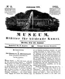 Museum, Blätter für bildende Kunst, Nr. 2, 12 Januar 1835, 3 Jhrg.
