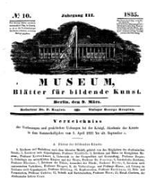 Museum, Blätter für bildende Kunst, Nr. 10, 9 März 1835, 3 Jhrg.