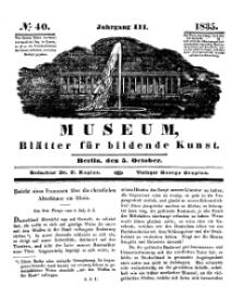 Museum, Blätter für bildende Kunst, Nr. 40, 5 October 1835, 3 Jhrg.