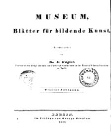 Museum, Blätter für bildende Kunst, Inhalt, 4 Jhrg.