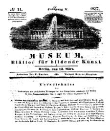 Museum, Blätter für bildende Kunst, Nr. 11, 13 März 1837, 5 Jhrg.