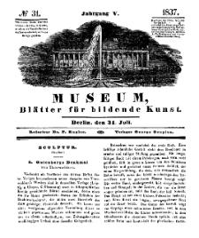Museum, Blätter für bildende Kunst, Nr. 31, 31 Juli 1837, 5 Jhrg.