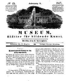 Museum, Blätter für bildende Kunst, Nr. 45, 6 November 1837, 5 Jhrg.