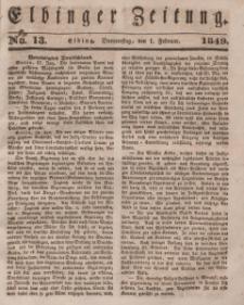 Elbinger Zeitung, No. 13 Donnerstag, 1. Februar 1849