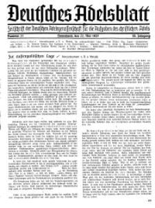 Deutsches Adelsblatt, Nr. 21, 55 Jahrg., 22 Mai 1937