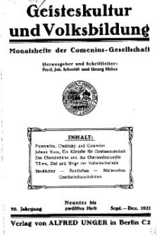 Geisteskultur und Volksbildung. Monatshefte der Comenius-Gesellschaft für Kultur und Geistesleben, 1921, 30. Band, Heft 9/12