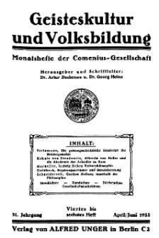 Geisteskultur und Volksbildung. Monatshefte der Comenius-Gesellschaft für Kultur und Geistesleben, 1922, 31. Band, Heft 4-5