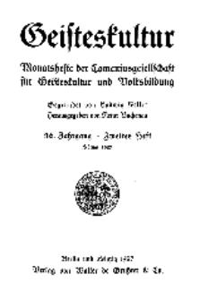 Geisteskultur. Monatshefte der Comenius-Gesellschaft für Kultur und Geistesleben, 1927, 36. Band, Heft 2