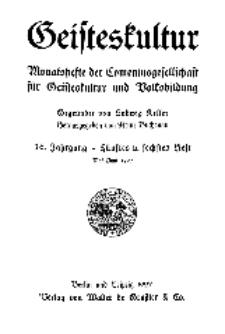 Geisteskultur. Monatshefte der Comenius-Gesellschaft für Kultur und Geistesleben, 1927, 36. Band, Heft 5-6