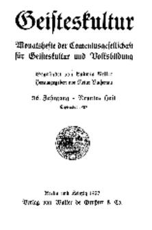 Geisteskultur. Monatshefte der Comenius-Gesellschaft für Kultur und Geistesleben, 1927, 36. Band, Heft 9