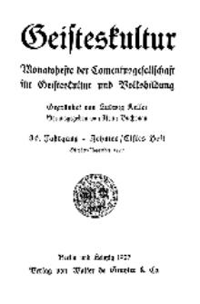 Geisteskultur. Monatshefte der Comenius-Gesellschaft für Kultur und Geistesleben, 1927, 36. Band, Heft 10-11