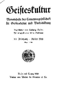 Geisteskultur. Monatshefte der Comenius-Gesellschaft für Kultur und Geistesleben, 1926, 35. Band, Heft 8