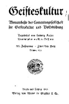 Geisteskultur. Monatshefte der Comenius-Gesellschaft für Kultur und Geistesleben, 1926, 35. Band, Heft 12