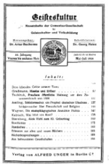 Geisteskultur. Monatshefte der Comenius-Gesellschaft für Kultur und Geistesleben, 1924, 33. Band, Heft 4-6