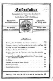 Geisteskultur. Monatshefte der Comenius-Gesellschaft für Kultur und Geistesleben, 1924, 33. Band, Heft 10-12
