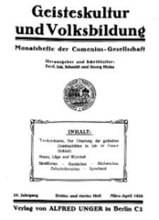 Geisteskultur und Volksbildung. Monatshefte der Comenius-Gesellschaft für Kultur und Geistesleben, 1920, 29. Band, Heft 3-4