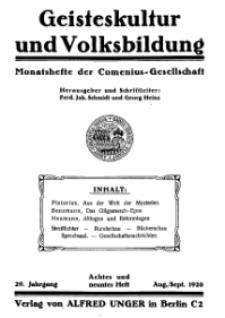 Geisteskultur und Volksbildung. Monatshefte der Comenius-Gesellschaft für Kultur und Geistesleben, 1920, 29. Band, Heft 8-9