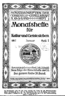 Monatshefte der Comenius-Gesellschaft für Kultur und Geistesleben, Januar 1917, 26. Band, Heft 1