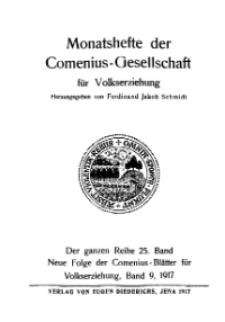 Monatshefte der Comenius-Gesellschaft für Volkserziehung, 1917, 25. Band, Inhalts