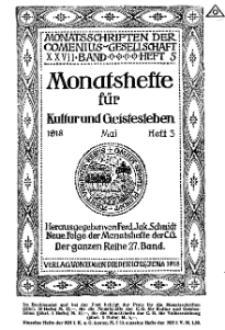 Monatshefte der Comenius-Gesellschaft für Kultur und Geistesleben, Mai 1918, 27. Band, Heft 3