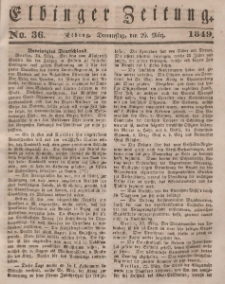 Elbinger Zeitung, No. 36 Donnerstag, 29. März 1849