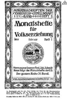 Monatshefte der Comenius-Gesellschaft für Volkserziehung, Februar 1918, 26. Band, Heft 1