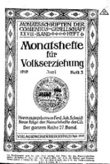 Monatshefte der Comenius-Gesellschaft für Volkserziehung, Juni 1919, 27. Band, Heft 3