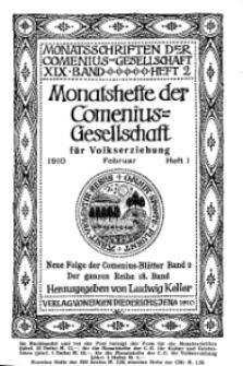 Monatshefte der Comenius-Gesellschaft für Volkserziehung, Februar 1910, 18. Band, Heft 1